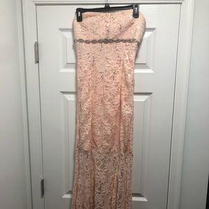 Peach prom gown